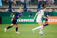 TACOMA, WA - JULY 31: Cece Kizer #5 of Racing Louisville FC dribbles the ball during a game between Racing Louisville FC and OL Reign at Cheney Stadium on July 31, 2021 in Tacoma, Washington.