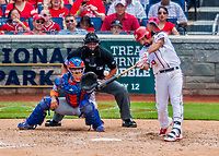 30 April 2017: Washington Nationals third baseman Anthony Rendon hits a 3-run RBI double to deep right in the 5th inning against the New York Mets at Nationals Park in Washington, DC. The Nationals defeated the Mets 23-5, with the Nationals setting several individual and team records, in the third game of their weekend series. Mandatory Credit: Ed Wolfstein Photo *** RAW (NEF) Image File Available ***