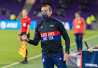 ORLANDO, FL - JANUARY 18: Vlatko Andonovski of the USWNT yells to his team during a game between Colombia and USWNT at Exploria Stadium on January 18, 2021 in Orlando, Florida.