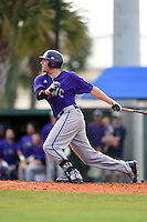 Kentucky Wesleyan Panthers outfielder Chad Klein (14) during a game against Slippery Rock University on March 9, 2015 at Jack Russell Stadium in Clearwater, Florida.  Kentucky Wesleyan defeated Slippery Rock 5-4.  (Mike Janes/Four Seam Images)
