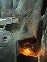 Iraq 2011 <br /> Oil lamps in the main shrine of Lalesh    <br /> Irak 2011 <br /> Lampes a huile dans le sanctuaire de Lalesh