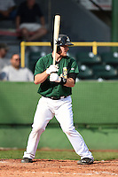 Clinton LumberKings third baseman Joseph DeCarlo (5) at bat during a game against the Beloit Snappers on August 17, 2014 at Ashford University Field in Clinton, Iowa.  Clinton defeated Beloit 4-3.  (Mike Janes/Four Seam Images)