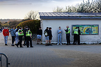 Pictured: Eight police officers attended after reports of a fight in Swansea Bay. Friday 16 April 2021<br /> Re: People enjoy an evening out after Covid-19 lockdown rules were relaxed, in Swansea Bay, Wales, UK.