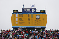 20.07.2014. Hoylake, England.  Leader board, final round of the 143rd British Open Championship at Royal Liverpool Golf Club in Hoylake, England.