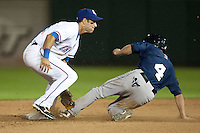 Round Rock Express second baseman Matt Kata #15 tags out the runner on an attempted stolen base during the Pacific Coast League baseball game against the New Orleans Zephyrs on April 30, 2012 at The Dell Diamond in Round Rock, Texas. The Zephyrs defeated the Express 5-3. (Andrew Woolley / Four Seam Images)...