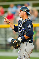 Pulaski Mariners catcher Toby Demello (6) on defense against the Burlington Royals at Burlington Athletic Park on June20 2013 in Burlington, North Carolina.  The Royals defeated the Mariners 2-1 in 13 innings.  (Brian Westerholt/Four Seam Images)