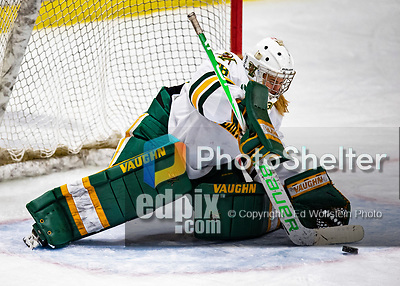 2 February 2020: University of Vermont Catamount Goaltender Natalie Ferenc, a Freshman from Orchard Lake, MI, makes an Overtime save against the Holy Cross Crusaders at Gutterson Fieldhouse in Burlington, Vermont. The Lady Cats rallied in the 3rd period to tie the Crusaders 2-2 in NCAA Women's Hockey East play. Mandatory Credit: Ed Wolfstein Photo *** RAW (NEF) Image File Available ***