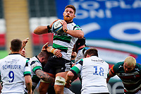 28th March 2021; Mattoli Woods Welford Road Stadium, Leicester, Midlands, England; Premiership Rugby, Leicester Tigers versus Newcastle Falcons; Darren Barry of Newcastle Falcons takes a line out