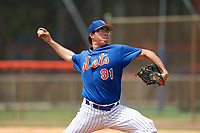 GCL Mets pitcher Joshua Cornielly (91) during a Gulf Coast League game against the GCL Marlins on August 11, 2019 at St. Lucie Sports Complex in St. Lucie, Florida.  GCL Marlins defeated the GCL Mets 3-2 in the second game of a doubleheader.  (Mike Janes/Four Seam Images)