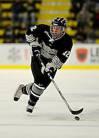 30 December 2007: Western Michigan University Broncos' forward Ryan Watson, a Freshman from Cambridge, Ontario, in action against the Holy Cross Crusaders at Gutterson Fieldhouse in Burlington, Vermont. The teams skated to a 1-1 tie, however the Broncos took the consolation game in a 2-0 shootout to win the third game of the Sheraton/TD Banknorth Catamount Cup Tournament...Mandatory Photo Credit: Ed Wolfstein Photo