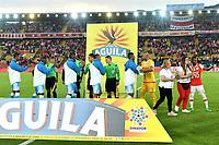 BOGOTA - COLOMBIA - 13 - 05 - 2017: Los jugadores de Independiente Santa Fe y Jaguares F. C., durante partido de la fecha 18 entre Independiente Santa Fe y Jaguares F. C., por la Liga Aguila I-2017, en el estadio Nemesio Camacho El Campin de la ciudad de Bogota. / The players of Independiente Santa Fe and Jaguares F. C., during a match of the date 18th between Independiente Santa Fe and Jaguares F. C., for the Liga Aguila I -2017 at the Nemesio Camacho El Campin Stadium in Bogota city, Photo: VizzorImage / Luis Ramirez / Staff.