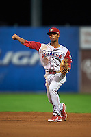 Williamsport Crosscutters shortstop Luis Espiritu, Jr. (27) throws to first during a game against the Batavia Muckdogs on August 27, 2015 at Dwyer Stadium in Batavia, New York.  Batavia defeated Williamsport 3-2.  (Mike Janes/Four Seam Images)