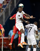 KANSAS CITY, KS - JUNE 26: Jose Rodriguez #7 heads the ball during a game between Panama and USMNT at Children's Mercy Park on June 26, 2019 in Kansas City, Kansas.