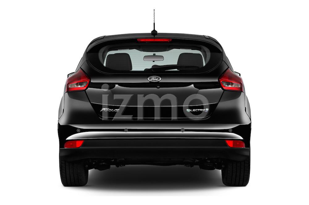 Straight rear view of 2016 Ford Focus 5-Door-Hatch-Electric 5 Door Hatchback Rear View  stock images