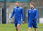 St Johnstone Training…<br />Liam Gordon and David Wotherspoon pictured during training at McDiarmid Park ahead of tomorrow's Betfred Cup game against Peterhead.<br />Picture by Graeme Hart.<br />Copyright Perthshire Picture Agency<br />Tel: 01738 623350  Mobile: 07990 594431