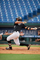 Luke Masiuk (24) of Trumbull High School in Trumbull, CT during the Perfect Game National Showcase at Hoover Metropolitan Stadium on June 17, 2020 in Hoover, Alabama. (Mike Janes/Four Seam Images)