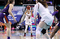GREENSBORO, NC - MARCH 6: Makayla Dickens #10 of Boston College passes the ball during a game between Clemson and Boston College at Greensboro Coliseum on March 6, 2020 in Greensboro, North Carolina.