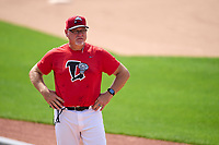 Lansing Lugnuts pitching coach Don Schulze (37) during practice before a game against the West Michigan Whitecaps on August 24, 2021 at Jackson Field in Lansing, Michigan.  (Mike Janes/Four Seam Images)