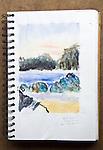Barkley Sound, Clarke Island, watercolor, Journal Art 2004,