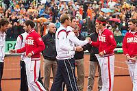 14-09-12, Netherlands, Amsterdam, Tennis, Daviscup Netherlands-Swiss,  Teams exchanging flags