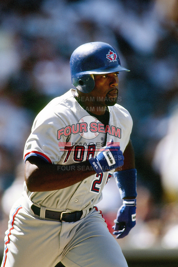 Carlos Delgado of the Toronto Blue Jays during a game against the Anaheim Angels at Angel Stadium circa 1999 in Anaheim, California. (Larry Goren/Four Seam Images)