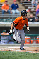 Drew Dosch (28) of the Frederick Keys hustles down the first base line against the Lynchburg Hillcats at Calvin Falwell Field at Lynchburg City Stadium on May 14, 2015 in Lynchburg, Virginia.  The Hillcats defeated the Keys 6-3.  (Brian Westerholt/Four Seam Images)
