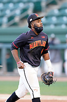 First baseman Maxwell Costes (4) of the Maryland Terrapins in a game against the Michigan State Spartans on Saturday, March 6, 2021, at Fluor Field at the West End in Greenville, South Carolina. (Tom Priddy/Four Seam Images)