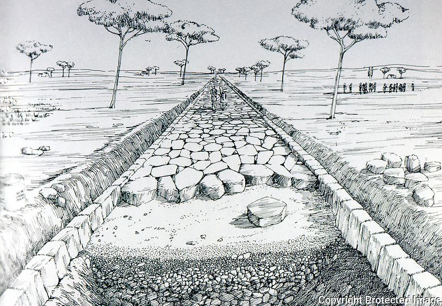 Roman Technology:  Drawing--Roman Road by D. Macauley.  Photo '84.