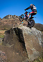 25/02/18<br /> <br /> Sam Yeomans, 19, braves freezing conditions to tackle a seemingly impossible obstacle at today's Staffordshire and Moorlands Trial held at Buttyfold Farm beneath Hen Cloud in an area of the Peak District known as The Roaches near Leek, Staffordshire. <br /> <br /> All Rights Reserved: F Stop Press Ltd. +44(0)1335 344240  www.fstoppress.com.