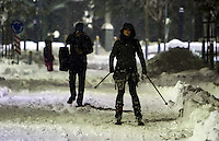 Pictured: A couple ski on the road in Larissa, central Greece Thursday 12 January 2017<br /> Re: Heavy snow has affected most parts of Greece.