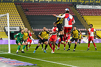 Ryan Tafazolli of Wycombe Wanderers wins the header at the far post during the Sky Bet Championship behind closed doors match between Watford and Wycombe Wanderers at Vicarage Road, Watford, England on 3 March 2021. Photo by David Horn.