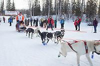 Dakota Schlosser At the start of the 2016 Junior Iditarod Sled Dog Race on Willow Lake  in Willow, AK February 27, 2016