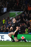 Beauden Barrett of New Zealand shows his delight at scoring a try in the corner during the Semi Final of the Rugby World Cup 2015 between South Africa and New Zealand - 24/10/2015 - Twickenham Stadium, London<br /> Mandatory Credit: Rob Munro/Stewart Communications