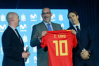 The President of RFEF Luis Rubiales (l), President of Telefonica Spain Emilio Gayo (c) and the coach of the national soccer team of Spain, Julen Lopetegui, during the presentation of the list of players for the Russian World Cup 2018. May 21,2018. (ALTERPHOTOS/Acero) /NortePhoto.com