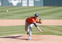 Auburn Trace Bright (21) throws a pitch, Saturday, April 3, 2021 during the tenth inning of a baseball game at Baum-Walker Stadium in Fayetteville. Check out nwaonline.com/210404Daily/ for today's photo gallery. <br /> (NWA Democrat-Gazette/Charlie Kaijo)