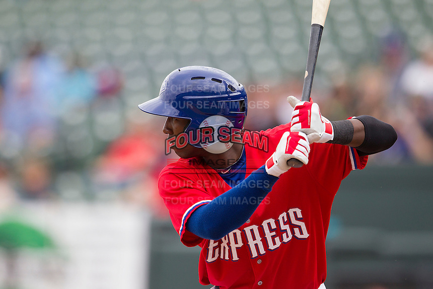 Round Rock Express second baseman Jurickson Profar #10 at bat against the Omaha Storm Chasers in the Pacific Coast League baseball game on April 7, 2013 at the Dell Diamond in Round Rock, Texas. Omaha beat Round Rock 5-2, handing the Express their first loss of the season. (Andrew Woolley/Four Seam Images).