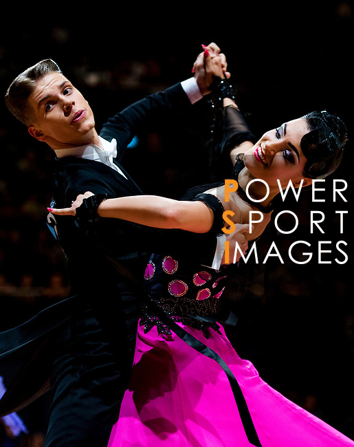 Madis Abel and Aleksandra Galkina of Estonia during the WDSF GrandSlam Standard on the Day 2 of the WDSF GrandSlam Hong Kong 2014 on June 01, 2014 at the Queen Elizabeth Stadium Arena in Hong Kong, China. Photo by AItor Alcalde / Power Sport Images