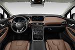 Stock photo of straight dashboard view of 2021 Hyundai Santa-FE-Hybrid Limited-HEV 5 Door SUV Dashboard