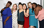 Danielle K. Thomas, Dana Steingold, Katie Boren, Grace Choi, Maggie Lakis and Imari Hardon backstage at the 'Avenue Q' 15th Anniversary Reunion Concert at Feinstein's/54 Below on July 30, 2018 in New York City.