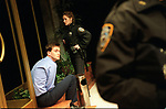 Charlotte Randle as Dawn, David Tennant as Jeff in Lobby Hero by Kenneth Lonergan, directed by Mark Brokaw. opens at the Donmar Warehouse 10/4/02  pic Geraint Lewis