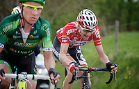 Tim Wellens (BEL/Lotto-Belisol) up the 'steepest climb' in Holland: Keutenberg (22%), next to Thomas Voeckler (FRA/Europcar)<br /> <br /> Amstel Gold Race 2014