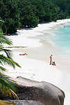 Seychelles, Island Praslin, Anse Lazio: Praslin's most beautiful beach, couple, woman topless<br />