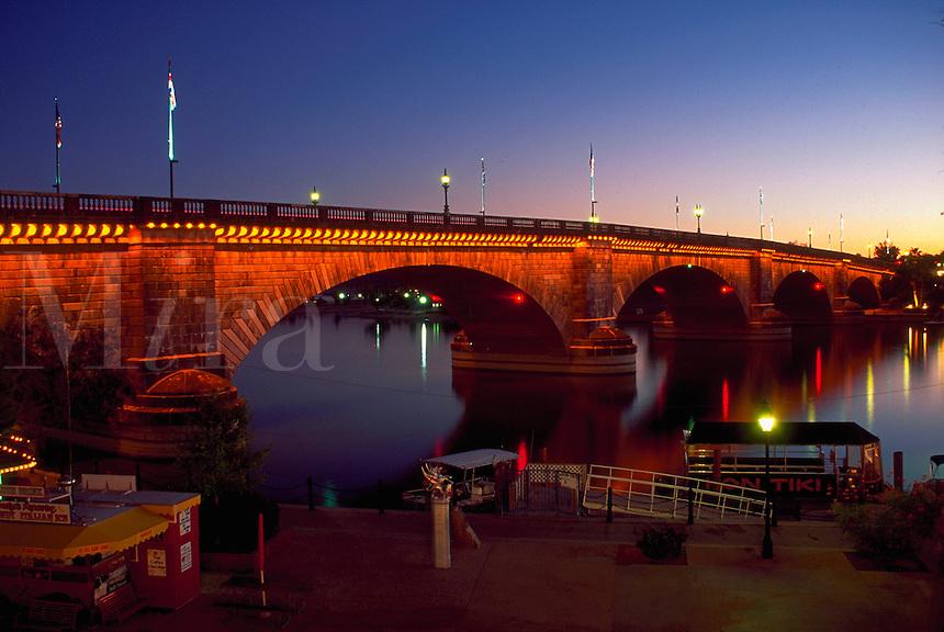 London Bridge in Lake Havasu City at dusk. Lake Havasu City, Arizona.