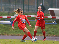 Taika De Koker (16 Woluwe) with the ball during a female soccer game between FC Femina WS Woluwe and RSC Anderlecht Women on the eight match day of the 2020 - 2021 season of Belgian Women's Super League , Sunday 22nd of November 2020  in Woluwe, Belgium . PHOTO SPORTPIX.BE | SPP | SEVIL OKTEM