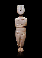 Female figurine statuette: Cycladic Canonical type, combining Dokathismata and Spedos variety. Early Cycladic Period II, (2800-2300 BC), 'Steiner Master'.  Museum of Cycladic Art Athens, cat no 283.   Against black