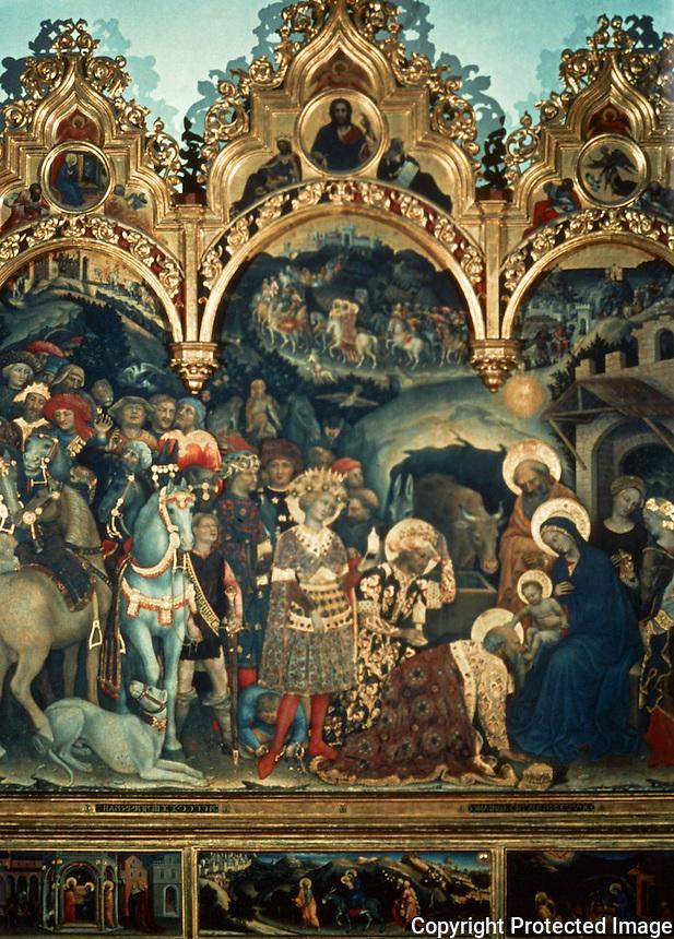 Renaissance Art:  Gentile Da Fabriano (1370-1427)--Adoration of the Magi.   Galleria Uffizi.