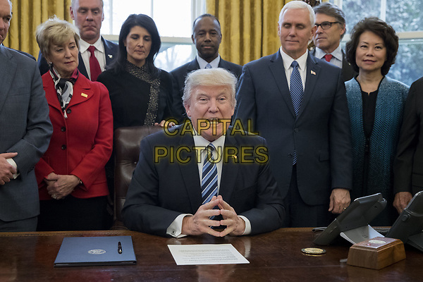 US President Donald J. Trump (C) delivers brief remarks before signing an executive order entitled, 'Comprehensive Plan for Reorganizing the Executive Branch', beside members of his Cabinet in the Oval Office of the White House in Washington, DC, USA, 13 March 2017.<br /> CAP/MPI/RS<br /> ©RS/MPI/Capital Pictures