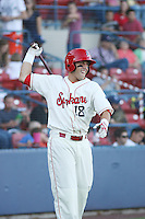 Spokane Indians outfielder Jake Skole #18 on deck during a game vs.the Eugene Emeralds at Avista Stadium in Spokane, Washington, on August 20, 2010. Photo By Robert Gurganus/Four Seam Images