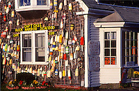 Bouys decorate Captain Cass Seafood, Rock Harbor, Orleans, Cape Cod, MA<br />