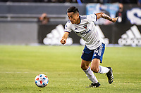 SAN JOSE, CA - MAY 01: Andy Najar #14 of DC United dribble the ball during a game between San Jose Earthquakes and D.C. United at PayPal Park on May 01, 2021 in San Jose, California.